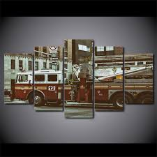 100 Fire Truck Wall Art Pictures Framework HD Printed Modern Canvas 5 Panel