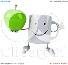 Clipart Of A 3d Happy Coffee Mug Jumping And Holding Green Apple