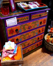 Brightly Painted Mexican Dresser With Mirrors