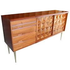 Mid Century Modern Sideboard Credenza Bar in Butternut by