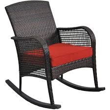 Rocking Chair Cushion Seat Wicker Steel Frame Outdoor Patio Deck ...