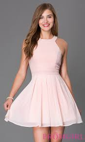 pink short sleeveless fit and flare party dress prom gowns and