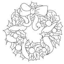 Holly And Candy Wreath Cute Christmas Crown Coloring Page