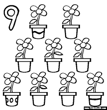Nine Flower Pots Coloring Page