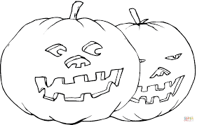 Scary Halloween Pumpkin Coloring Pages by Two Pumpkins Coloring Page Free Printable Coloring Pages