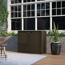 Suncast 195 Gallon Deck Box Manual by Suncast Backyard Oasis 195 Storage And Entertaining Station At