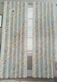 Yellow And Grey Bathroom Window Curtains by Amazon Com Envogue Miza Large Paisley Yellow Blue Grey Teal Pair