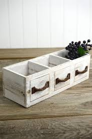Wood Drawer Planter Box 3 Compartments 13in