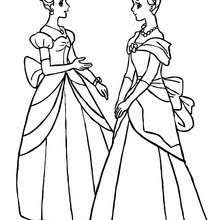 2 Princesses With Buns Coloring Page