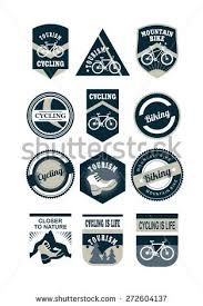 Set Of Emblems And Logos In Retro Colors On A Theme Tourism Cycling Black