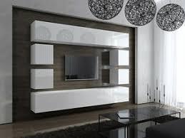 details zu wohnwand future 17 anbauwand möbel tv schrank wohnzimmer hochglanz weiß schwarz