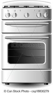 White Kitchen Stove From Front View Isolated On