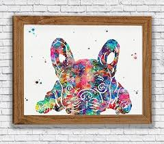 French Bulldog Watercolor Art Prints Dog Wall Decor Animal Artworks Pet Dining Room