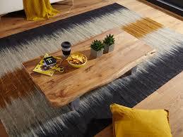couchtisch asura 115 x 25 x 58 cm akazie massiv holz metallgestell groß baumstamm wohnzimmertisch massivholz braun baumkante sofatisch landhaus