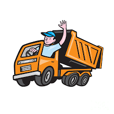 Dump Truck Driver Waving Cartoon Digital Art By Aloysius Patrimonio