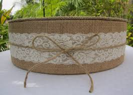 15 22 Burlap Lace Round Wedding Cake Stand