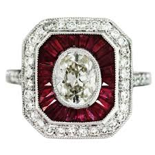 97 Carat Oval Diamond Ruby And Platinum Vintage Style Engagement Ring