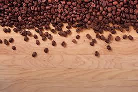 Coffee Beans Wood Background Border Premium Photo