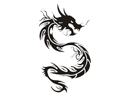 Cool Black Tribal Chinese Dragon Tattoo Stencil