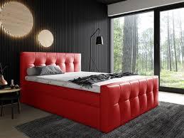 boxspringbett schlafzimmerbett owen 160x200cm kunstleder rot