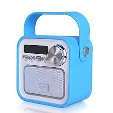bluetooth lautsprecher mit radio fm in blau mini aux usb
