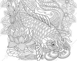 Adult Coloring Pages Carp Koi Fish Zentangle Doodle For Adults Digital
