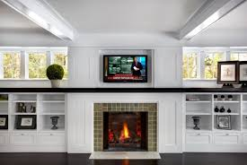 Electric Fireplace And White Built In Shelves For Traditional Living Room Decor