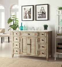 Furniture Terrific Vintage Country Bathroom Vanities With White Wash Cabinet Finish Including Louvered Door Panels And