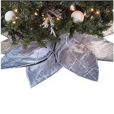 Filgifts Silver Poinsettia Tree Skirt 8 Adjustable Glittered Sequined Petals 228022 0OVP SLV By Little Marvels