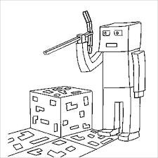 Minecraft Style Coloring Page For Kids