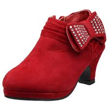 kids ankle boots rhinestone embellished bow high heel booties red