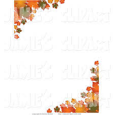 Clip Art of Corners of Green Orange and Yellow Autumn Leaves over a Solid White