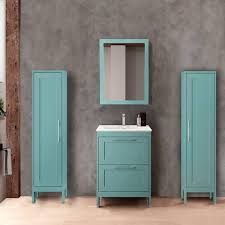 badezimmermöbel set mit 2 hochschränken spiegel tarifa 110 blue