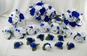 Silk Wedding Flowers Cascade Bridal Bouquets Royal Blue Silver And White Roses 18 Pieces Made To Order Brides On A Budget WeDDiNG BouQuets