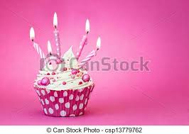 Pink Birthday Cupcake Stock
