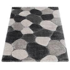 hochflor teppich shaggy stein design grau