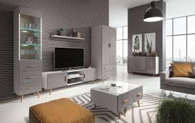 wohnzimmer komplett set b hohgant 6 teilig farbe weiß grau hochglanz