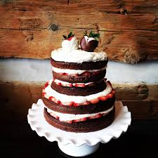 Rustic Naked Unfrosted Style Chocolate Strawberry Grooms Cake With Custom Dipped Toppers