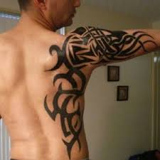 Cool Maori Tribal Tattoos On Back Sleeve And Shoulder