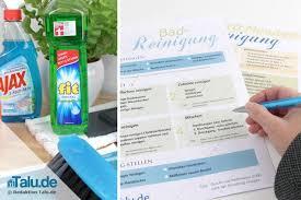 haushaltsplan zum putzen kostenlose vorlagen checkliste