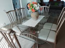 Modern Glass Dining Room Table With Chairs For Sale