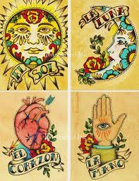 Folk Art POSTCARDS Mexican Loteria Tattoo By Illustratedink