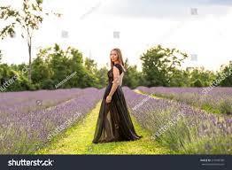 beautiful wearing long black dress stock photo 219949708