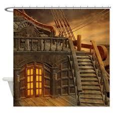 board Pirate Ship Shower Curtain by FantasyArtDesigns