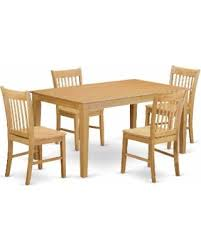 Traditional Oak Finish Solid Rubberwood 5 Piece Dining Set With Capri Table And Four Norfolk