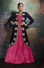 buy jacket style indian gowns online magenta party wear evening gown