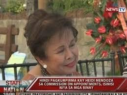 100 Heidi Mendoza SONA Hindi Pagkumpirma Kay Mendoza Ng Commission On Appointments Isinisi Niya Sa Mga Binay