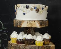 Rustic Wood Tree Slice 4 Tier Cupcake Stand For Your Wedding Event Or