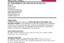 Welder Resume Objective Welders Samples For Certified Welding Inspector