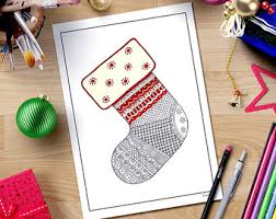 Coloring Page Printable Adult Christmas StockingsZentangle Downloadintricate Henna Doodle